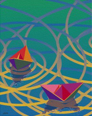 Boatscape triptych-Burgeoning#2, 13 pp 22x18.43
