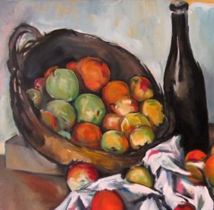 in progress - Cezanne'sBasket of Apples - detail 17 oc 26x32