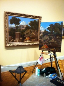copying Poussin'sSt John on the Island of Patmosin the Art Institute of Chicago13 ol 40x54
