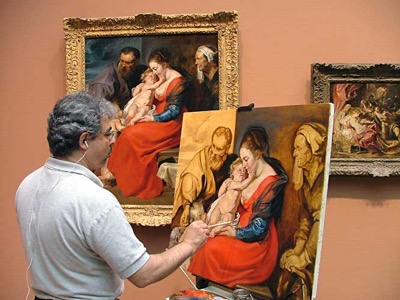Andreu copying Rubens' Holy Familyin the Art Institute of Chicago05 op 47x36